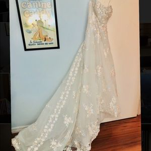 Never worn 1 of a kind embroidered wedding gown